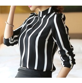 Women's Vintage Chiffon Stripped Blouse