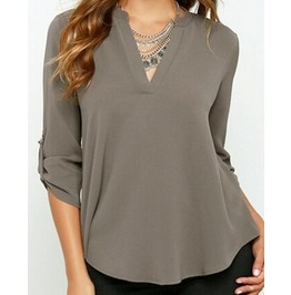 Women's Autumn V Neck Adjustable Sleeves Blouse