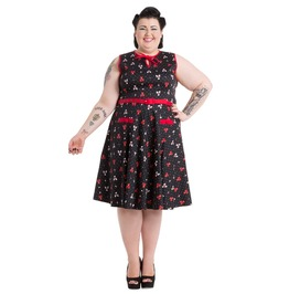 Voodoo Vixen Ally Cat Bowling Print Dress