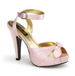 Pin Up Couture Bettie Satin Ankle Strap Peep Toe Heels