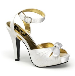 Pin Up Couture Bettie White Satin Ankle Strap Peep Toe Heels