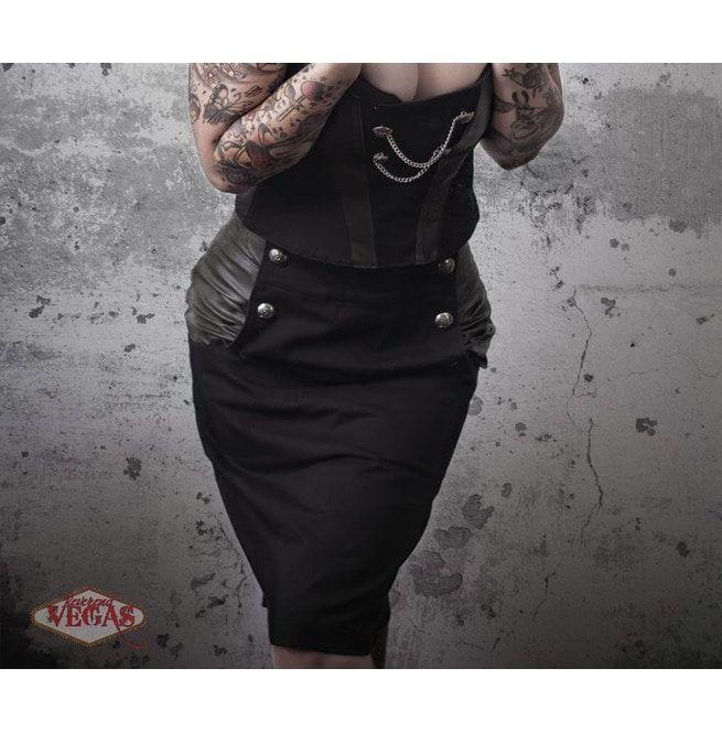 3a22c02394 Button Up Pencil Skirt Black Green Steampunk Boho | RebelsMarket