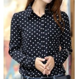 Women's Vintage Polka Dot Long Sleeve Blouse