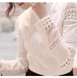 Women's White Lace Hollow Crochet Blouse