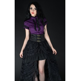 Black Lacy High Waisted Victorian Goth Pirate Black Bustle Skirt $9 Ship