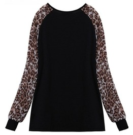 Women's Vintage Chiffon Leopard Sleeve Blouse