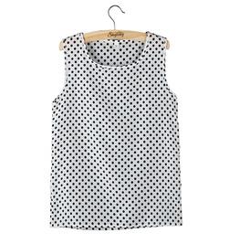 Chiffon Sleeveless Crew Vest Tank Tops Blouse T Shirt