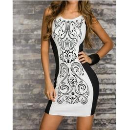 Retro Printed Black White Patchwork Sexy Sheath Dress Slim Slim Style