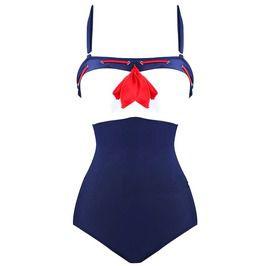 Unique swimwear sailor navy blue and white with red centre piece ribbon sml swimwear