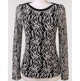 Women's Vintage Chiffon Lace Long Sleeve Blouse