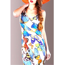 Pretty Shawl Wrap Around Dress With Beautiful Butterfly Print