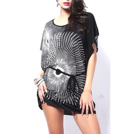 Pretty Black Top Or Mini Dress Has An Amazing White Abstract Sun Ray Design