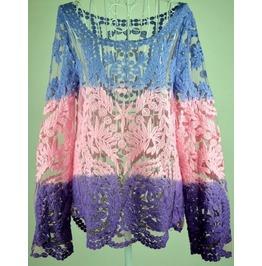 Women's Vintage Lace Crochet Colorful Blouse