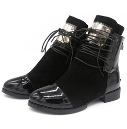 Women's Genuine Leather Flat Heels Motorcycle Ankle Boots