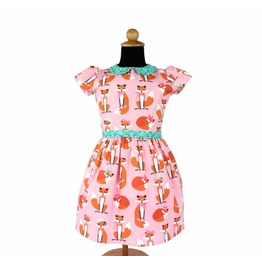 Foxy Pink Pan Collar Girl's Dress