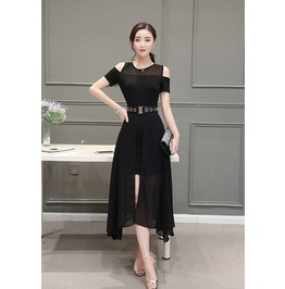 Stylish Cut Shoulder Patchwork Black Dress