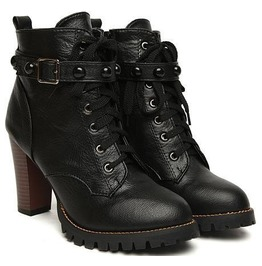 Women's Black Gothic High Heels Boots