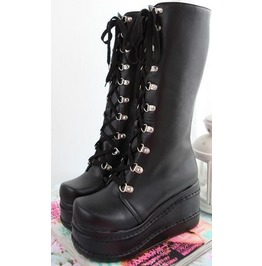 Women's Knee High Heel Platform Gothic Motorcycle Boots