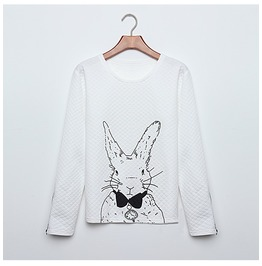 Long Sleeve Sweatshirts Women's Rabbit Printed Hoodies With Zipper Pullover
