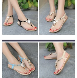 Summer New Bohemian Sandals Flat Casual Owl Beaded Thong Sandals