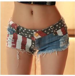 Women's New Summer Nightclub American Flag Frayed Hole Denim Shorts Pants