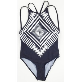 Women's Vintage One Piece Black Geometry Swimsuit