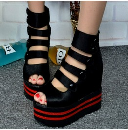 Multi Strap Wedge Sandals