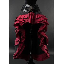 Black Deep Red Black Steampunk Long Short Front Ruffle Buckle Goth Skirt