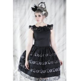 Gloomth Gothic Seance Dress With Grey Lace Sizes Xs To 2 Xl