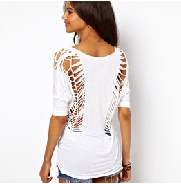 Women's Razor Cut Backless V Neck Bat Wing Sleeve T Shirt White