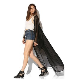 Black Hollow Out Backless Long Kimono Chiffon Cardigan Loose Blouse Women's