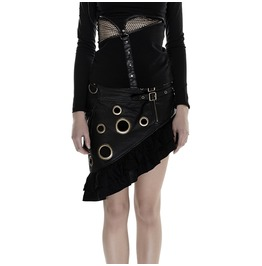 Punk Rave Streampunk Faux Leather Buckles Flounced Skirt Black/Brown Q283