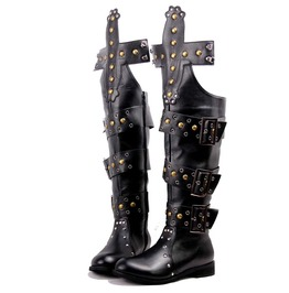 Men's Punk Rivets Faux Leather Over The Knee Boots