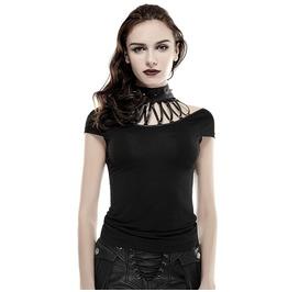 Punk Rave Streampunk Rivets High Collar Women's Slim Fitted T Shirt T430