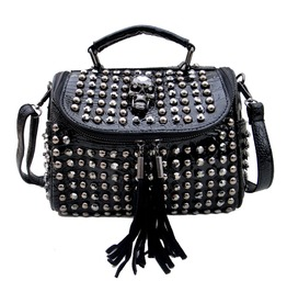 Punk Skull Rivets Women's Tassels Shoulder Bag