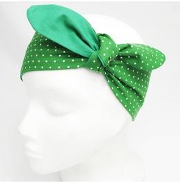 Emerald Green Polka Dot Headscarf