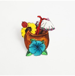 Piña Colada Coconut Cocktail Brooch