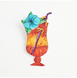 Tequila Sunrise Tropical Cocktail Brooch