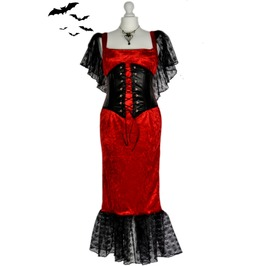 Beautiful Vintage Style Gothic Vampire Corset Gown Dress Goth Pinup Girl