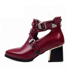Pointed Toe Buckle Strap Thick High Heel Boots