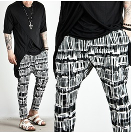 Unique Pattern Accent Ankle Baggy Sweatpants 173