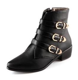 Three Buckle Straps Chunky Heel Boots