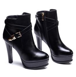 Stylish Gold Buckle Strap Thin High Heel Boots