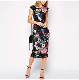 Floral Printed Slim Casual Sleeveless Dress Women's