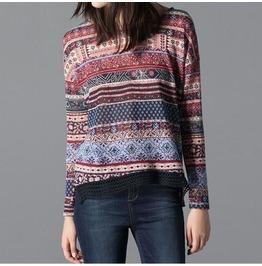 Ethnic Style Blouse Long Sleeve O Neck Long Slevee T Shirt