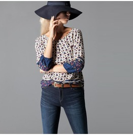 Ethnic Style Shirt Floral Print Loose Long Sleeve Pullover T Shirt Women's
