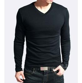 Men's V Neck Slim Fit Long Sleeve T Shirt