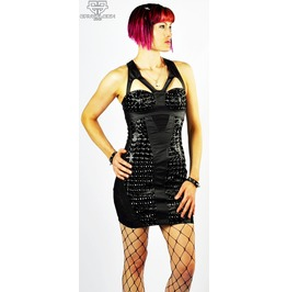 Lip Service Holographic Gothic Cyberpunk Cybergoth Stimulate Bondage Dress