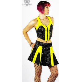 Lip Service Holograpic Cyberpunk Cybergoth Black & Yellow High Waist Skirt