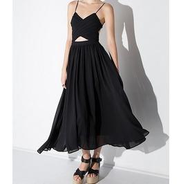 2016 New Arrival Sexy Black Deep V Backless Bandage Women Slip Dress